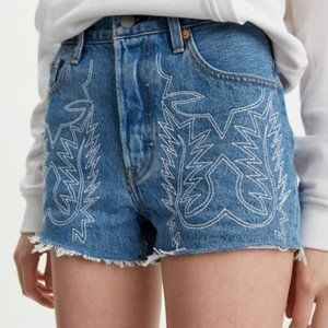 Levi's 501 High Rise Embroidered Shorts Size 24